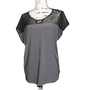 AUW Black and Gray Short Sleeve Silky Top, Large